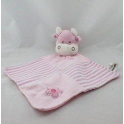 Doudou plat vache rose rayé papillon fleur SOFT FRIENDS