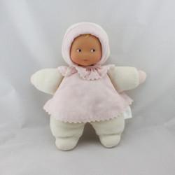 Doudou poupée poupon bébé blanc rose fleurs COROLLE