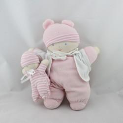 Doudou poupée lutin chiffon blanc rose rayé avec bébé COROLLE