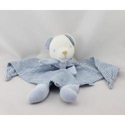 Doudou plat ours blanc bleu rayé NOUNOURS