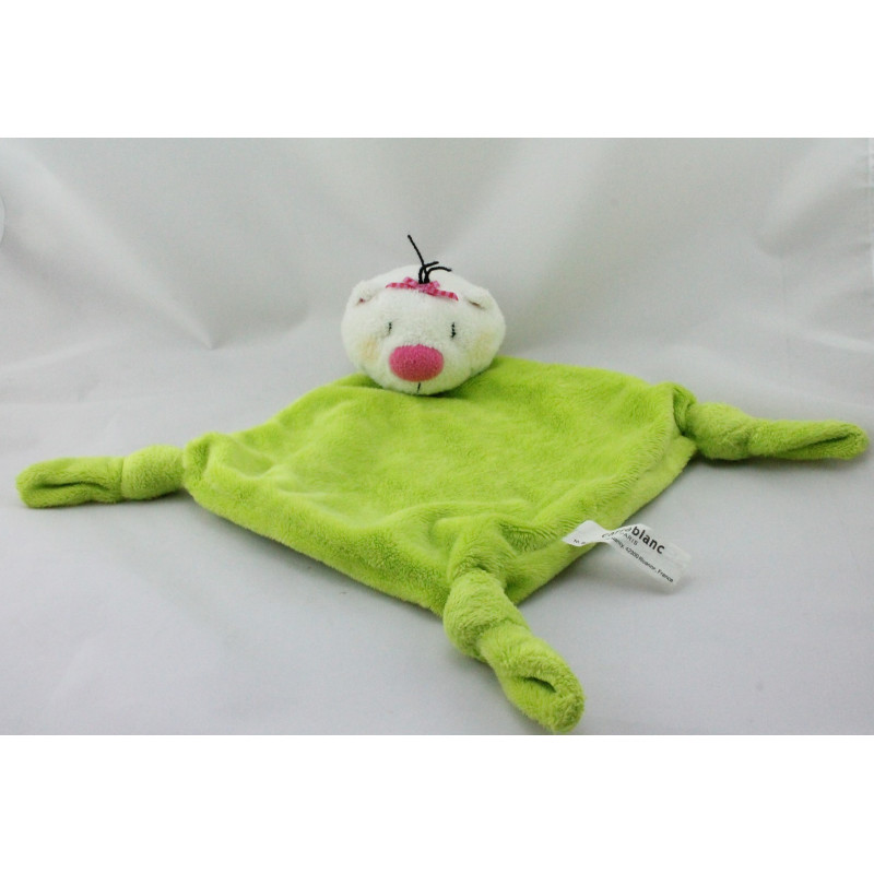 Doudou plat ours chat blanc vert CARRE BLANC