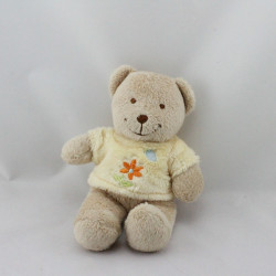 Doudou ours beige tee shirt jaune fleur TEX