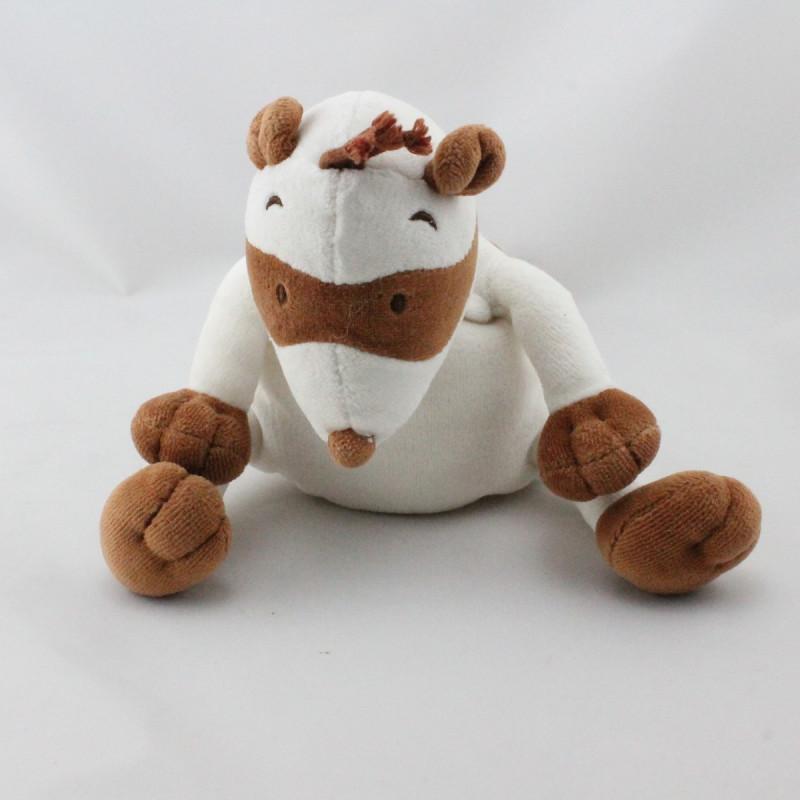 Doudou raton laveur blanc marron OBAIBI