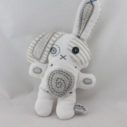 Doudou lapin blanc gris TAPE A L'OEIL