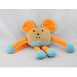 Doudou souris beige bleu orange TAKINOU