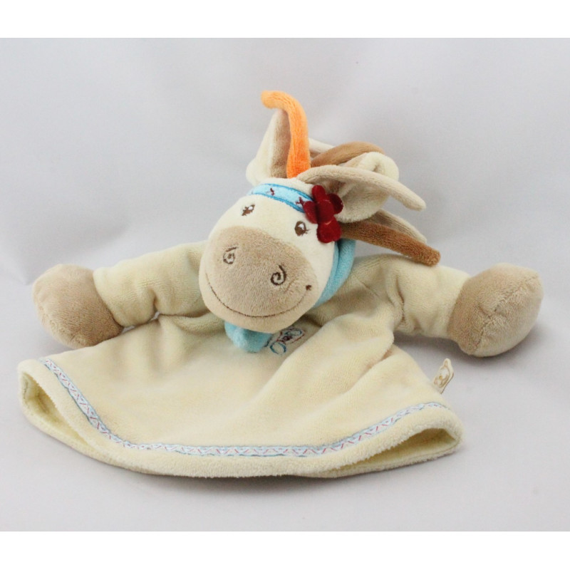 Doudou marionnette cheval jument kaya beige fleur indien NOUKIE'S