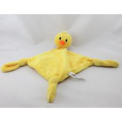 Doudou plat oiseau poussin jaune CARRE BLANC