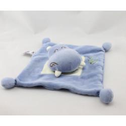 Doudou plat hippopotame bleu blanc Dodo d'amour MGM