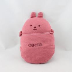 Doudou boule lapin rose bordeaux poche OBAIBI