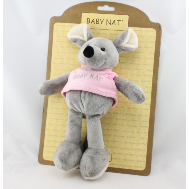 Doudou souris grise pull rose BABY NAT