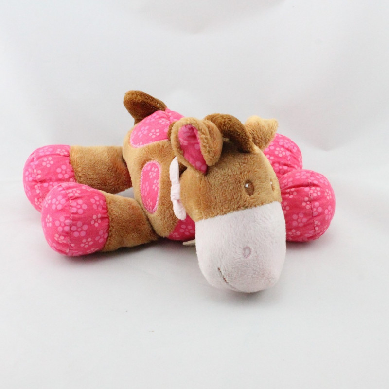 Doudou poney cheval marron rose BABY NAT