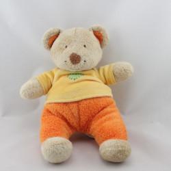 Doudou ours jaune orange vert coeur POMMETTE