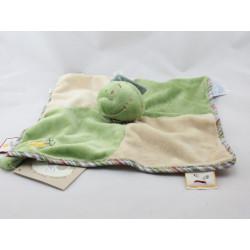 Doudou plat grenouille verte foulard rayé Aldo NOUKIE'S