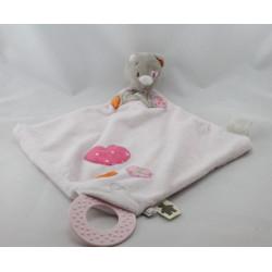 Doudou plat chat gris rose coeurs Iris NOUKIE'S
