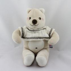 Doudou ours beige blanc pull laine SUCRE D'ORGE