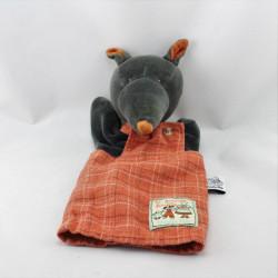 Doudou marionnette Loup noir salopette orange La Grande Famille MOULIN ROTY