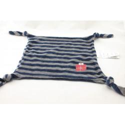 Doudou plat carré bleu marine gris rayé cadeau VERTBAUDET