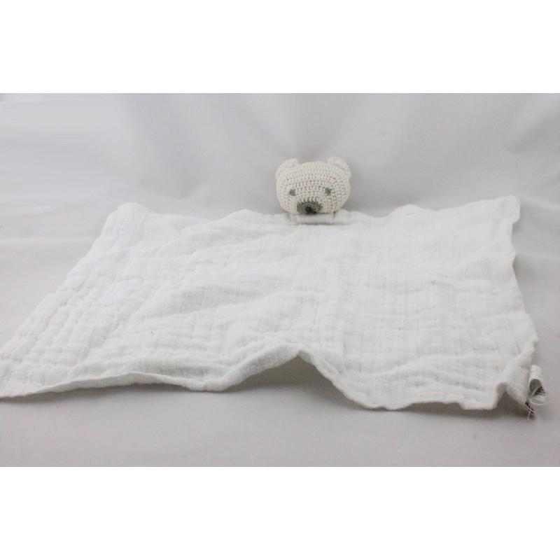 Doudou plat ours lange blanc BONPOINT