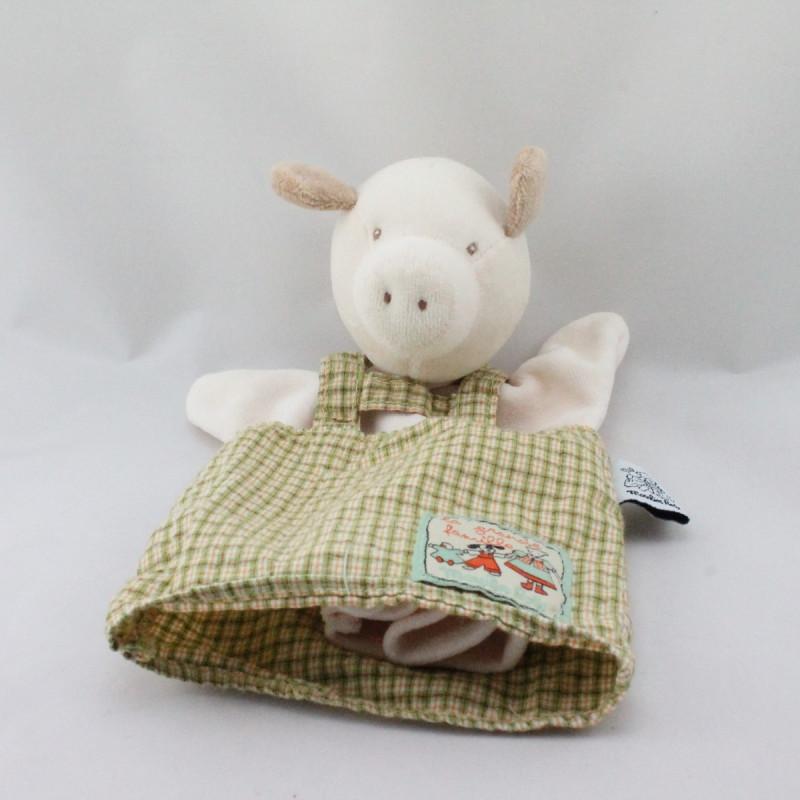 Doudou marionnette cochon la grande famille MOULIN ROTY