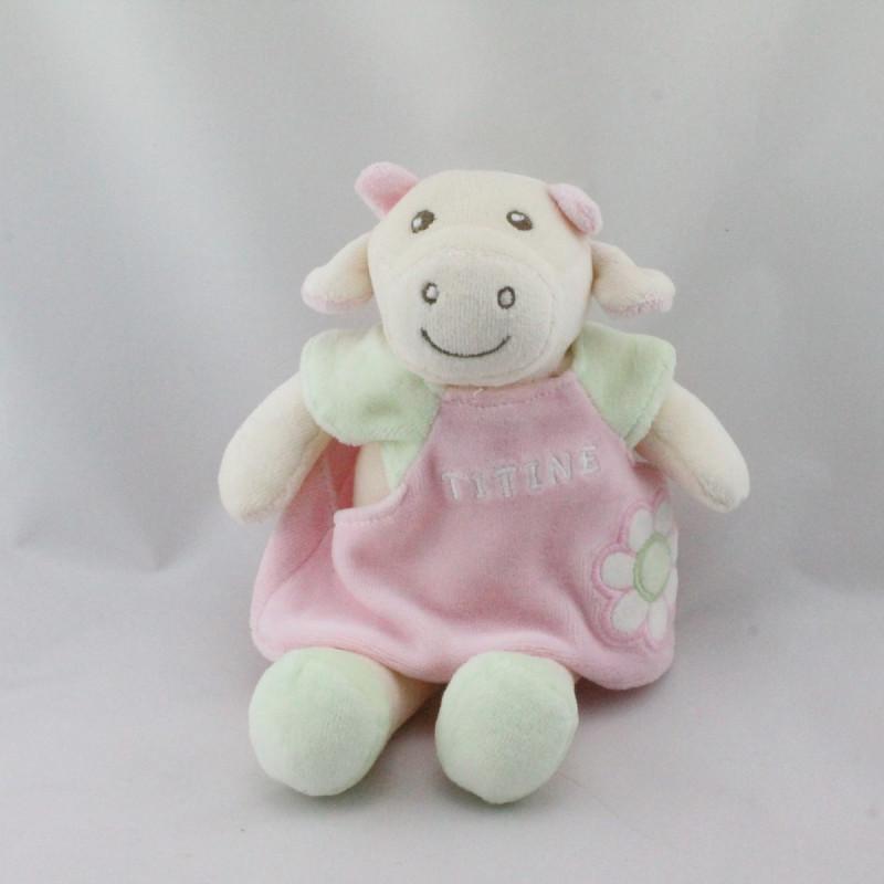 Doudou ours blanc rose vert Titine NOUNOURS