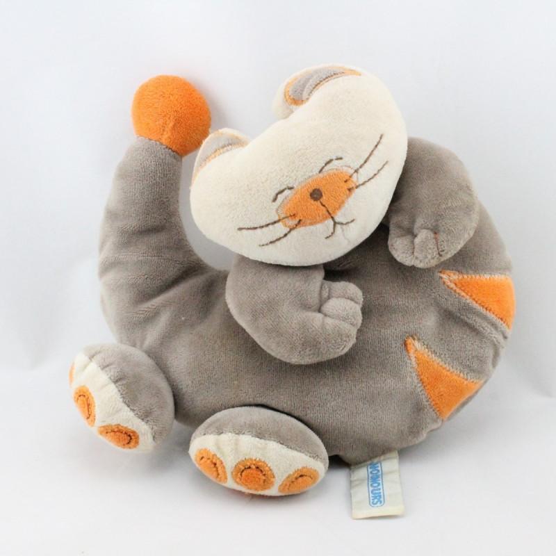 Doudou chat beige marron orange NOUNOURS