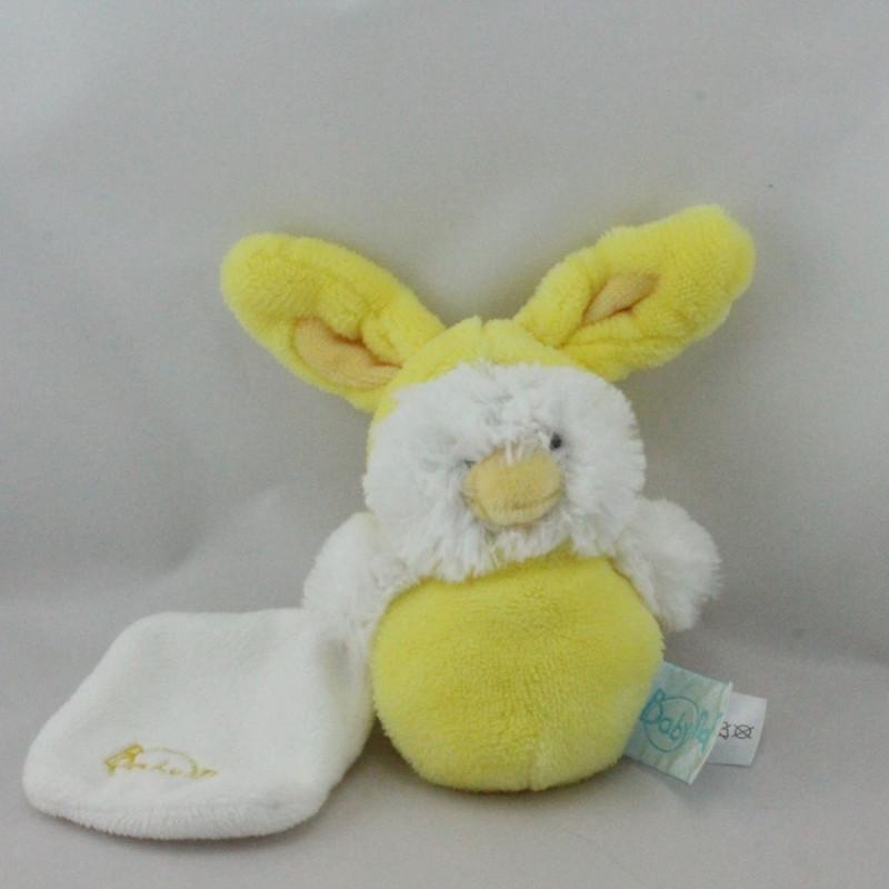 Petit Doudou poussin jaune mouchoir déguisé en lapin BABY NAT