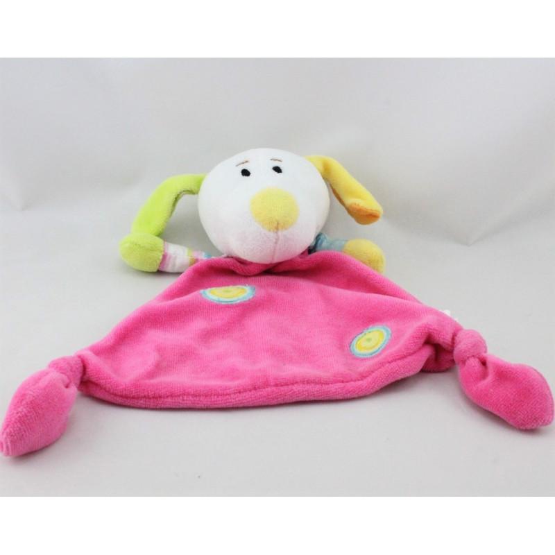 Doudou plat chien rose blanc vert jaune bleu MAXITA