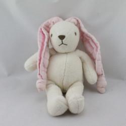 Doudou lapin blanc oreilles rose Nounours