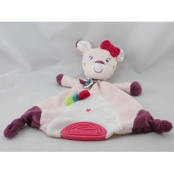 Doudou plat girafe biche faon rose prune BABY FEHN