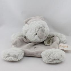 Doudou plat ours gris beige bonnet BABY NAT