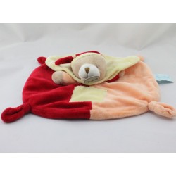 Doudou plat ours rouge orange jaune cape BABY NAT
