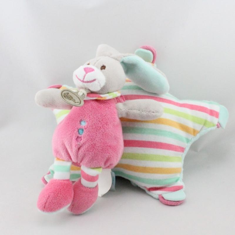 Doudou musical étoile lapin rose vert rayé Stella BABY NAT