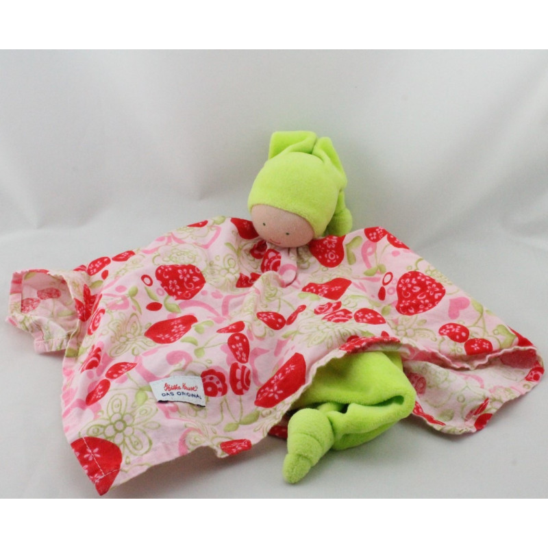 Doudou plat poupée lutin vert rose rouge fraises KATHE KRUSE