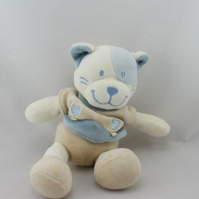 Doudou chat blanc beige bleu coeur NICOTOY
