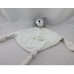 Doudou plat ours gris blanc bascule CARRE BLANC