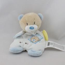 Doudou semi plat ours beige blanc bleu dentition ERGEE