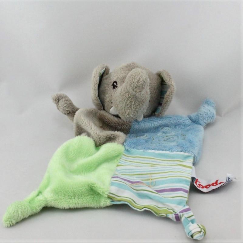 Doudou plat éléphant gris bleu vert TOODO
