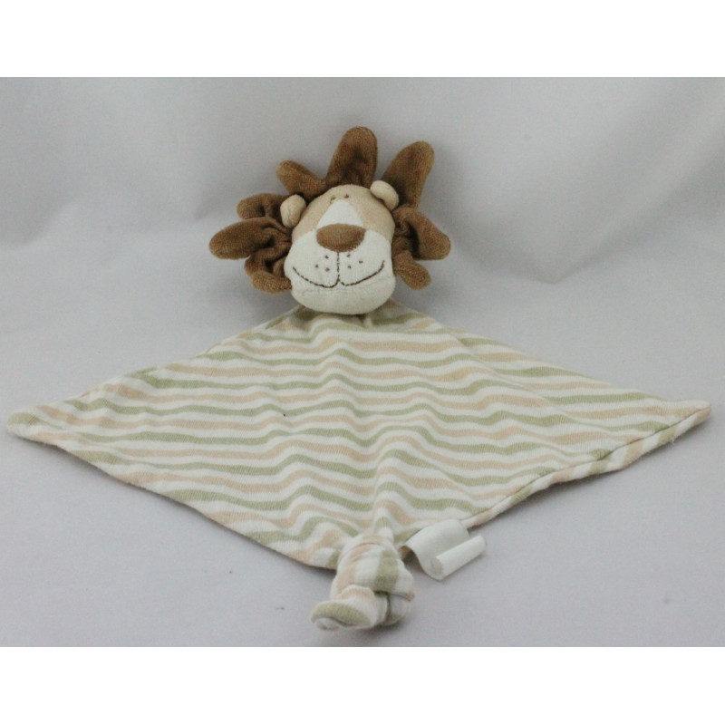 Doudou plat lion beige rayé kaki DODO D'AMOUR MGM