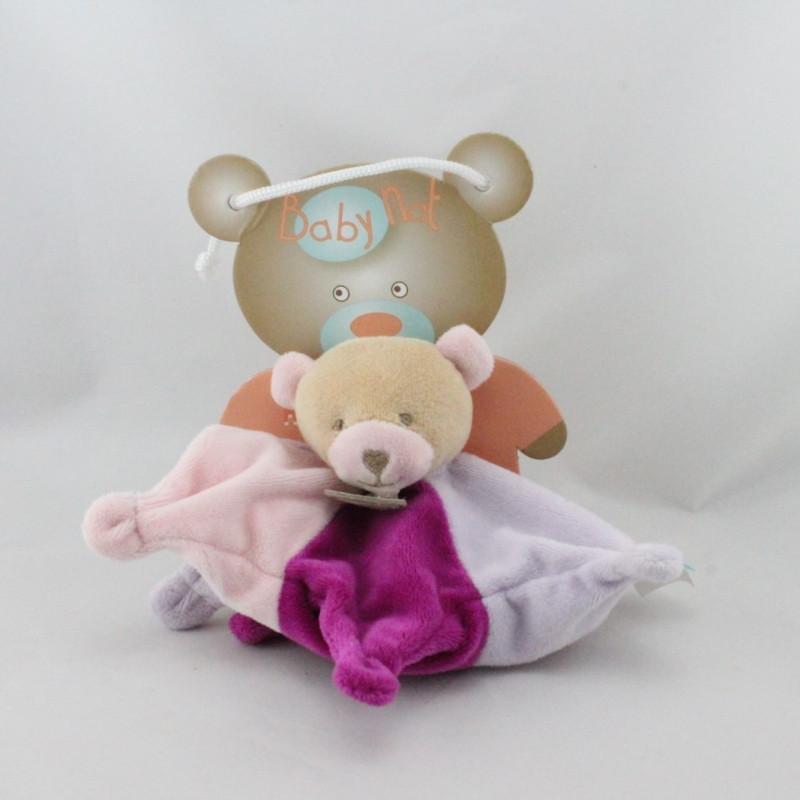 Doudou plat étoile ours rose mauve BABY NAT