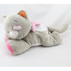 Doudou veilleuse chat gris rose fleurs Iris NOUKIE'S