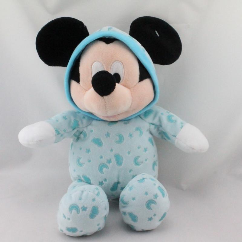Doudou Mickey bleu nuages lunes phosphorescent DISNEY