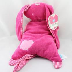 Doudou coussin lapin rose rayé coeur LIEF