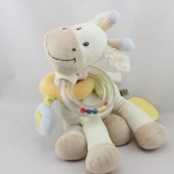 Doudou girafe blanche beige bleu hochet dentition TEX BABY