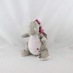 Doudou musical dragon gris rose Victoria et Lucie NOUKIE'S