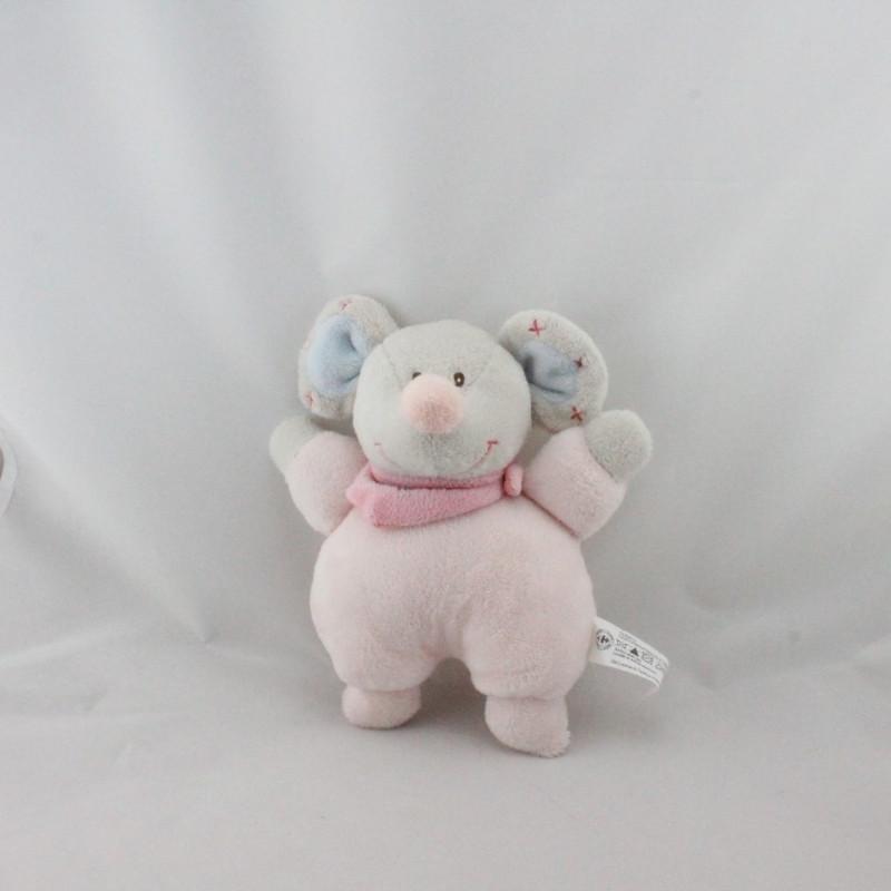 Doudou souris grise rose bleu CMI