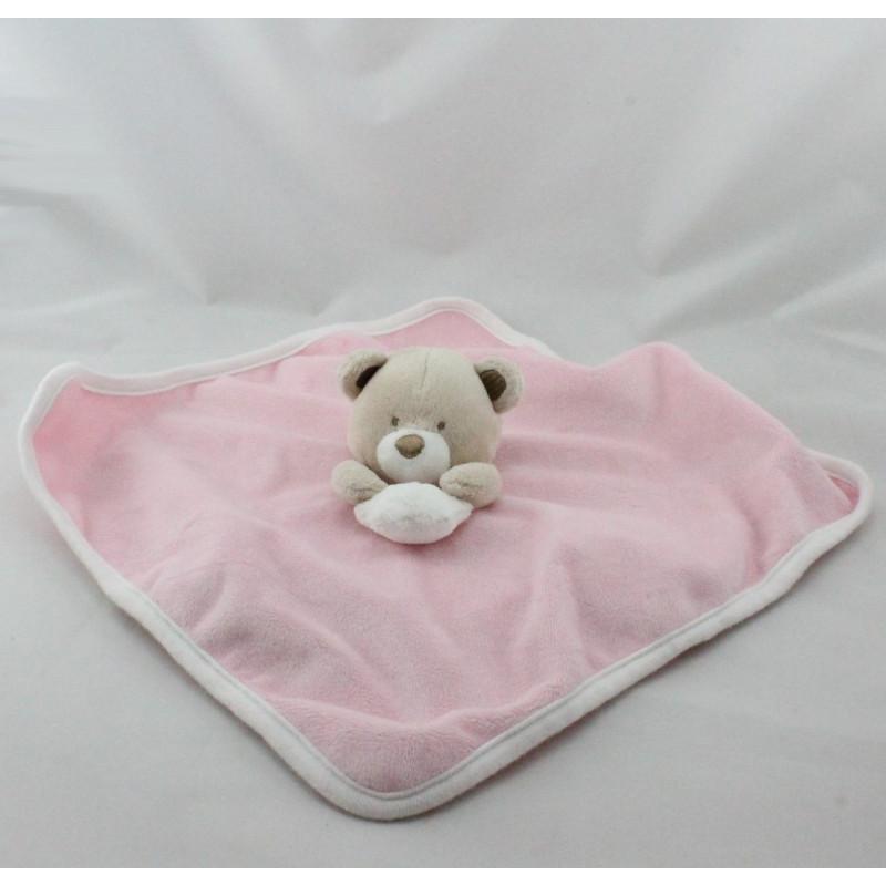 Doudou plat ours rose blanc beige étoile