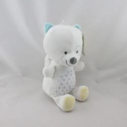 Doudou écureuil blanc bleu gris étoiles GEMO