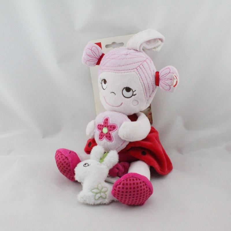 Doudou musical poupée rose rouge lapin INFLUX