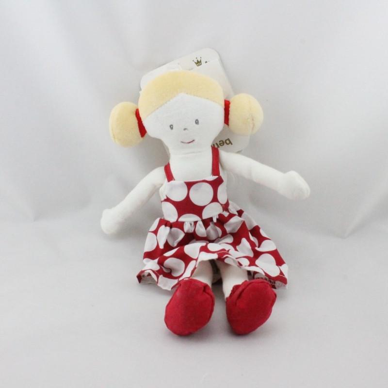 Doudou poupée fille robe rouge blanc pois BERLINGOT