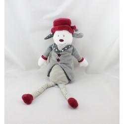 Doudou chien gris bordeaux Olaf et Faustine SAUTHON